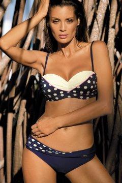 Levehető pántos pöttyös bikini - Anastacia Blu Scuro M-341 tengerészkék  fehér c55866dcdc