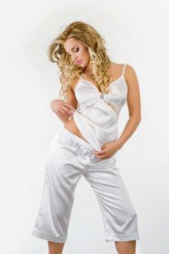 Csipkés szatén pizsama Bahama - ekrü 5252e1a093