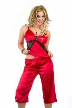 Csipkés szatén pizsama Bahama - piros fekete e9c895f04b
