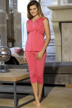 Vállán csipkés ujjatlan pizsama háromnegyedes nadrággal Ismena rózsaszín 92ffe698fb