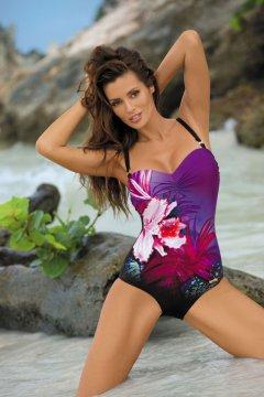 Virágmintás egyrészes fürdőruha - Nicole Nero-Mirto M-378 padlizsán ab0f035bf8