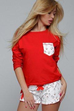 Pingvines rövid női pizsama Penguin piros fehér 29a3823242
