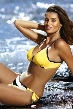 Háromszög bikini csíkos alsóval - Nelly Tweety M-453 citromsárga fekete bd3e9666da