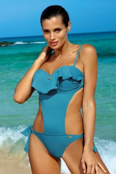 Levehető pántos fodros trikini - Carmen Curacao M-468 türkiz 8535a04be5