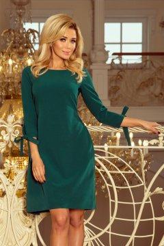 Elegáns ruha derekán és ujján masnival Alice 195-1 zöld 00271fd7be