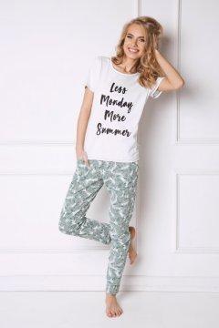 Pamut pizsama rövidujjú felsővel pálmalevél mintás rövidnadrággal Tropics  fehér zöld 589bb0e581