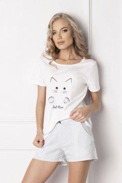 Rövid macskás pamut pizsama Catwoman fehér. Aruelle. Női bokszer Model 131  fehér. Gabidar. Elegáns puha és meleg galléros köntös a hátán korona  mintával ... 21998396b8