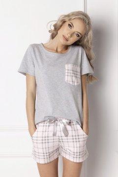 Kockás rövid pamut pizsama Londie szürke d792b5c839