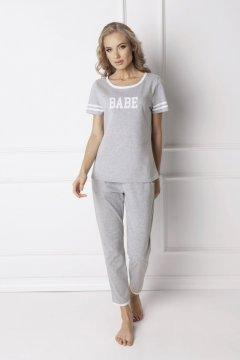 Sportos hosszú pamut pizsama Babe szürke 69b13203ec