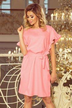 836560d9a2 Fodros ujjú, bő fazonú ruha derekán megkötővel Rose 229-1 pasztell rózsaszín