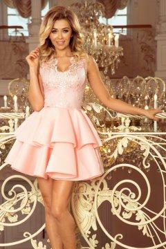 0658f10870 Felül hímzettímzett, ujjatlan, koktélruha fodros szoknyával Alexis 207-3  pasztell rózsaszín