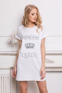 ... Rövid ujjú pamut hálóing felirattal Princess Queen fehér pöttyös 4c7600ed24