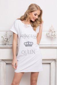 Rövid ujjú pamut hálóing felirattal Princess Queen rózsaszín ... fcbad33f95