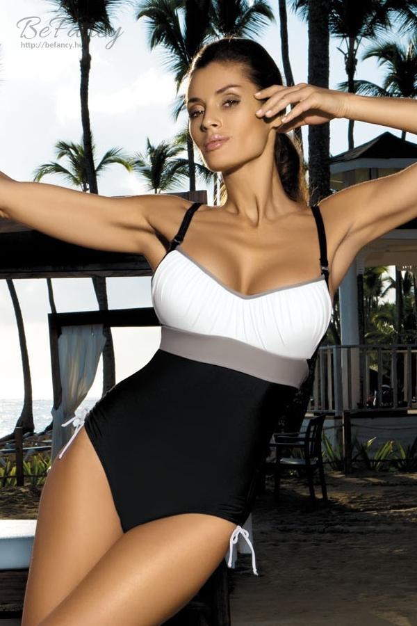 Sportos egyrészes fürdőruha - Whitney Nero-Bianco-Mastice M-253 fehér  szürke fekete 25005d1e45