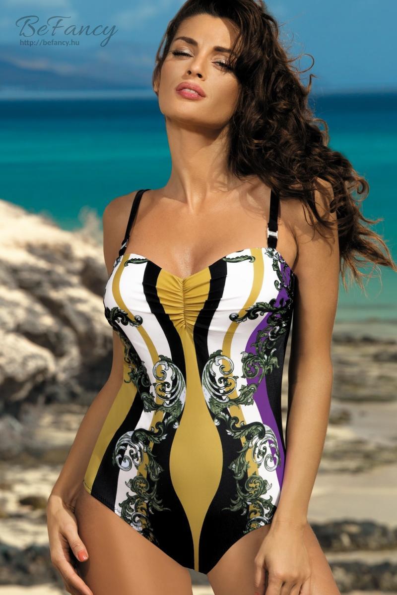 Egyrészes fürdőruha - Miriam Nero-Rododendro M-329 fekete arany ... 88eee87371