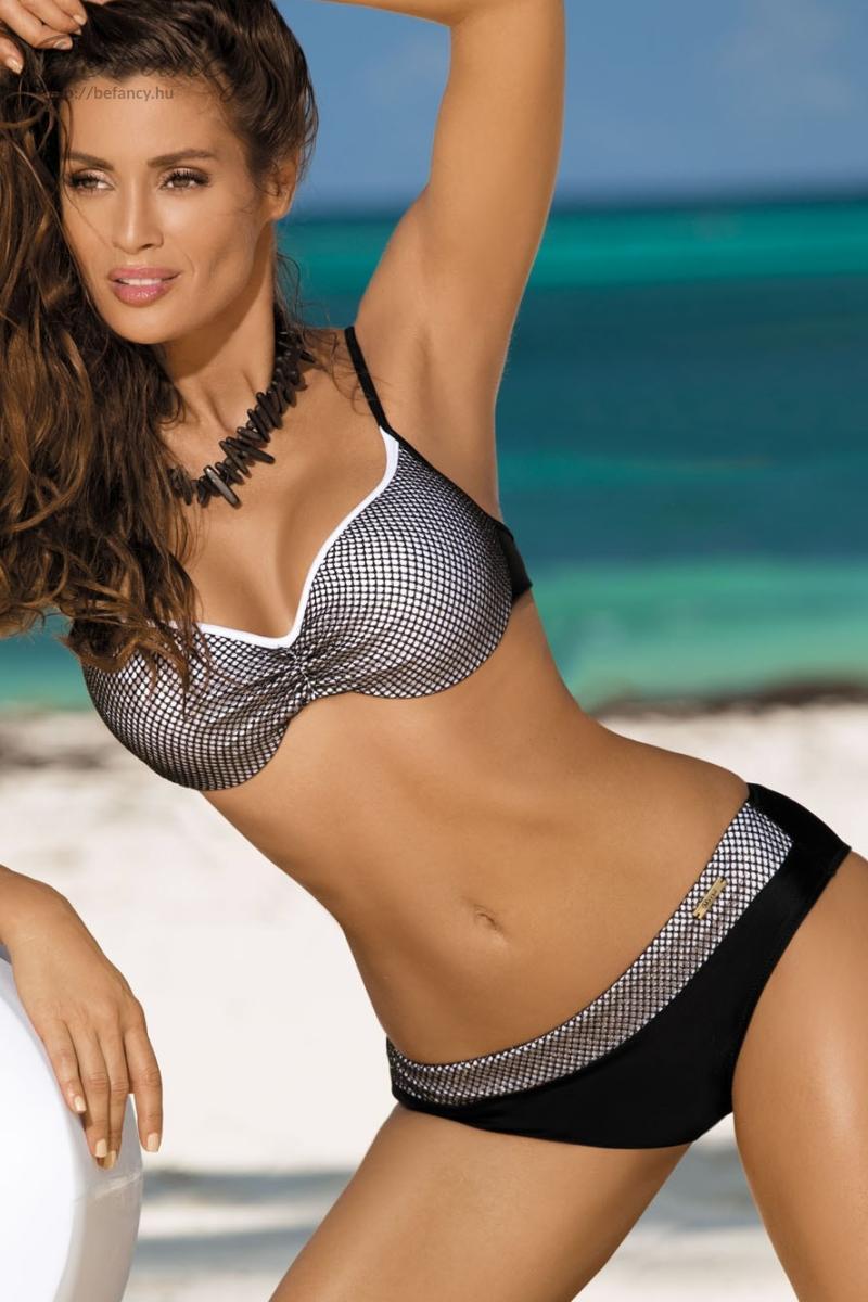 Csillogó hálós bikini - Nadia Nero-Bianco M-374 fekete fehér  73744be7af