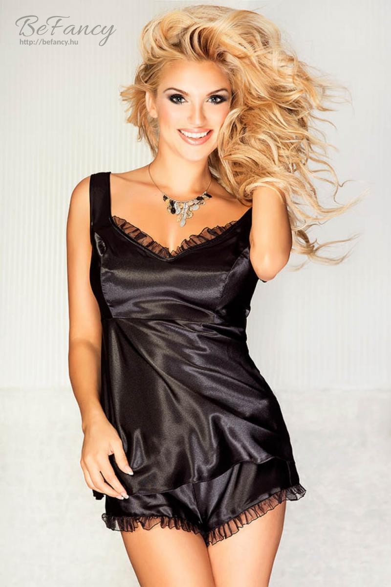 Szatén pizsama csipke szegéllyel Bermuda - fekete  5ee55a89a4