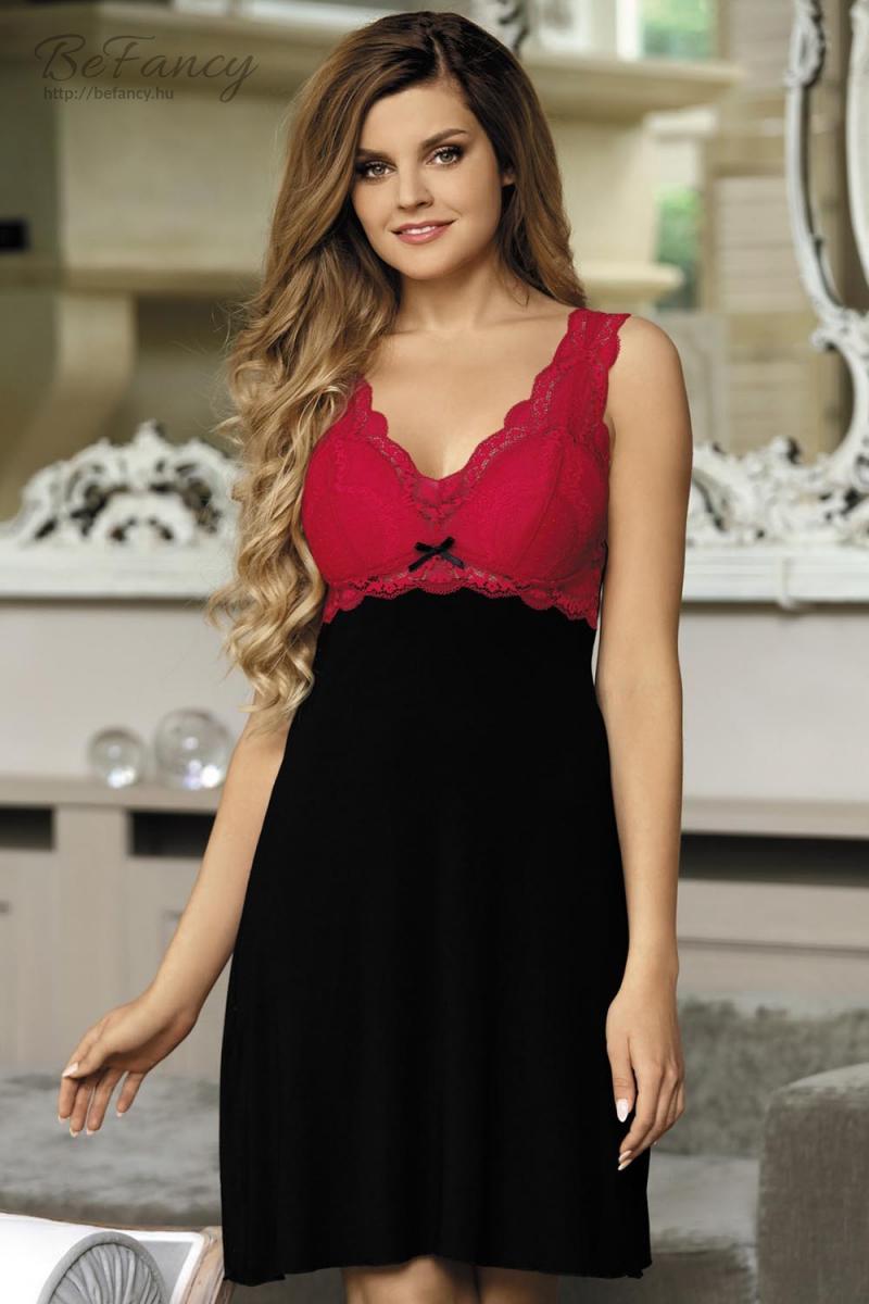Csipkés hálóing Model Larisa piros fekete  9858e09eed