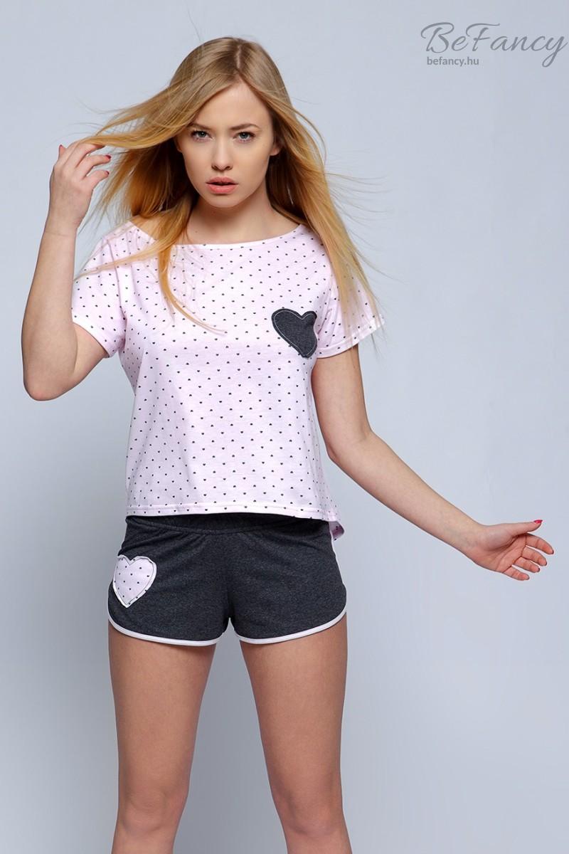 Szíves női pizsama Juliette rózsaszín grafitszürke  827d373997