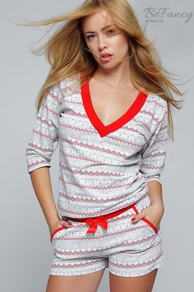 Hópehely mintás női pizsama Snowflake szürke piros  5f5995842b