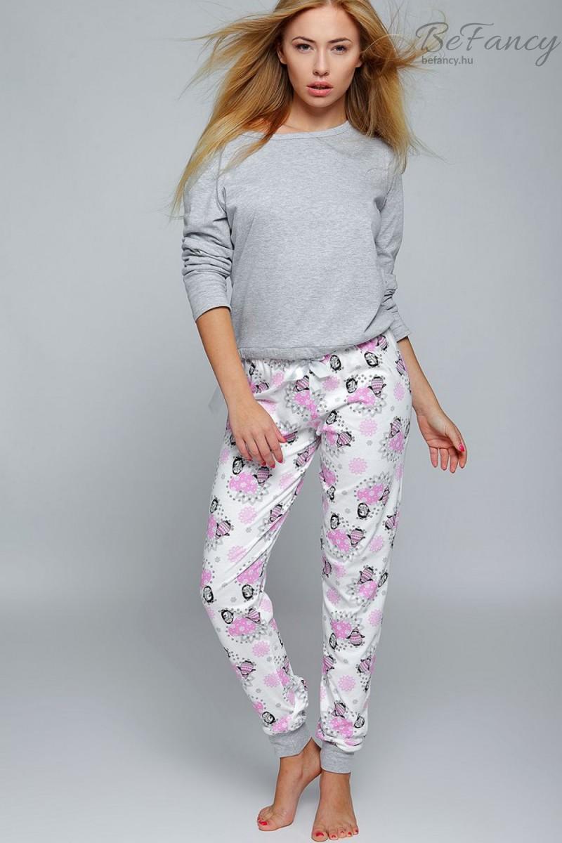 Pingvin mintás női pizsama Happy Winter szürke rózsaszín  5bcae9150b