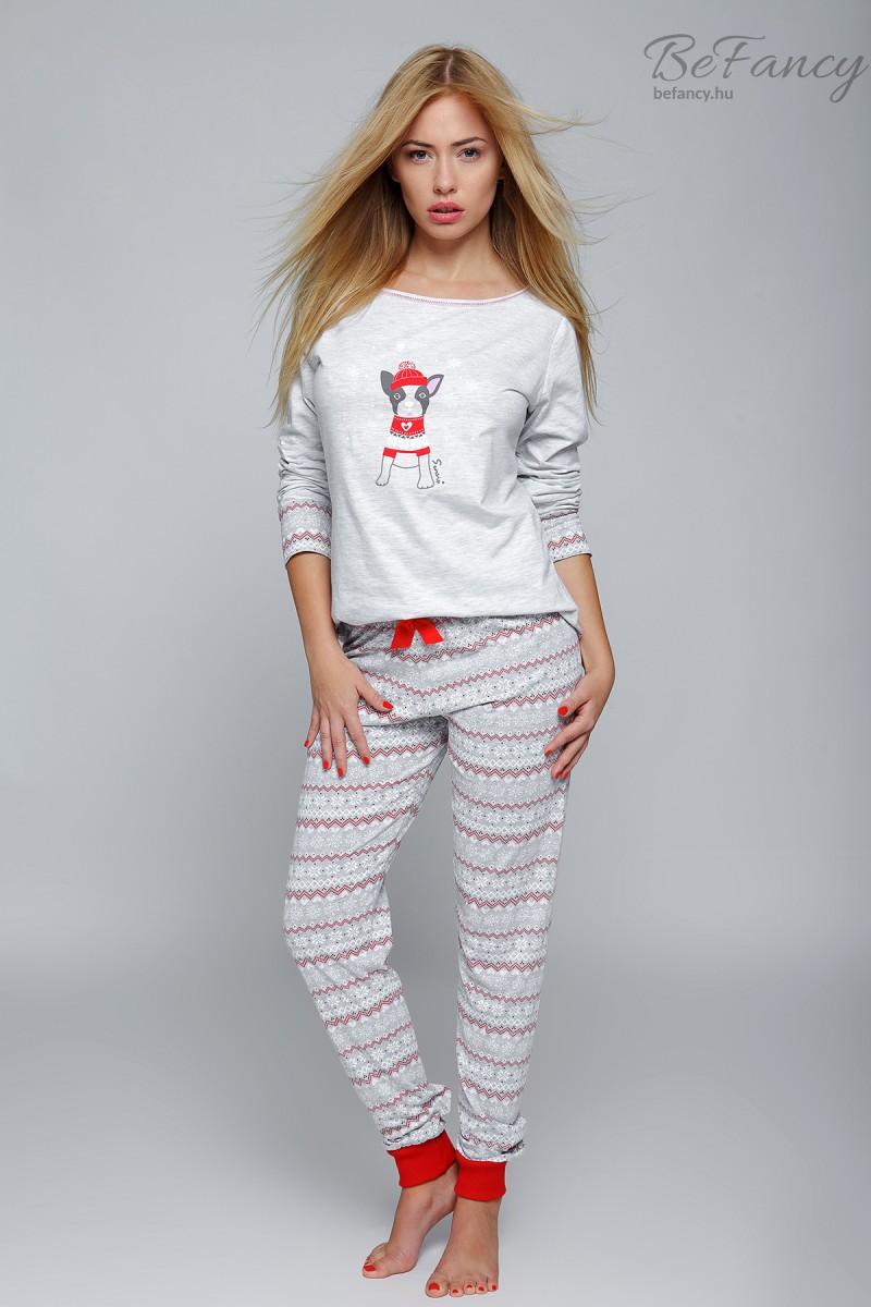 Kiskutyás női pizsama Little Dog szürke piros  2208e2c622