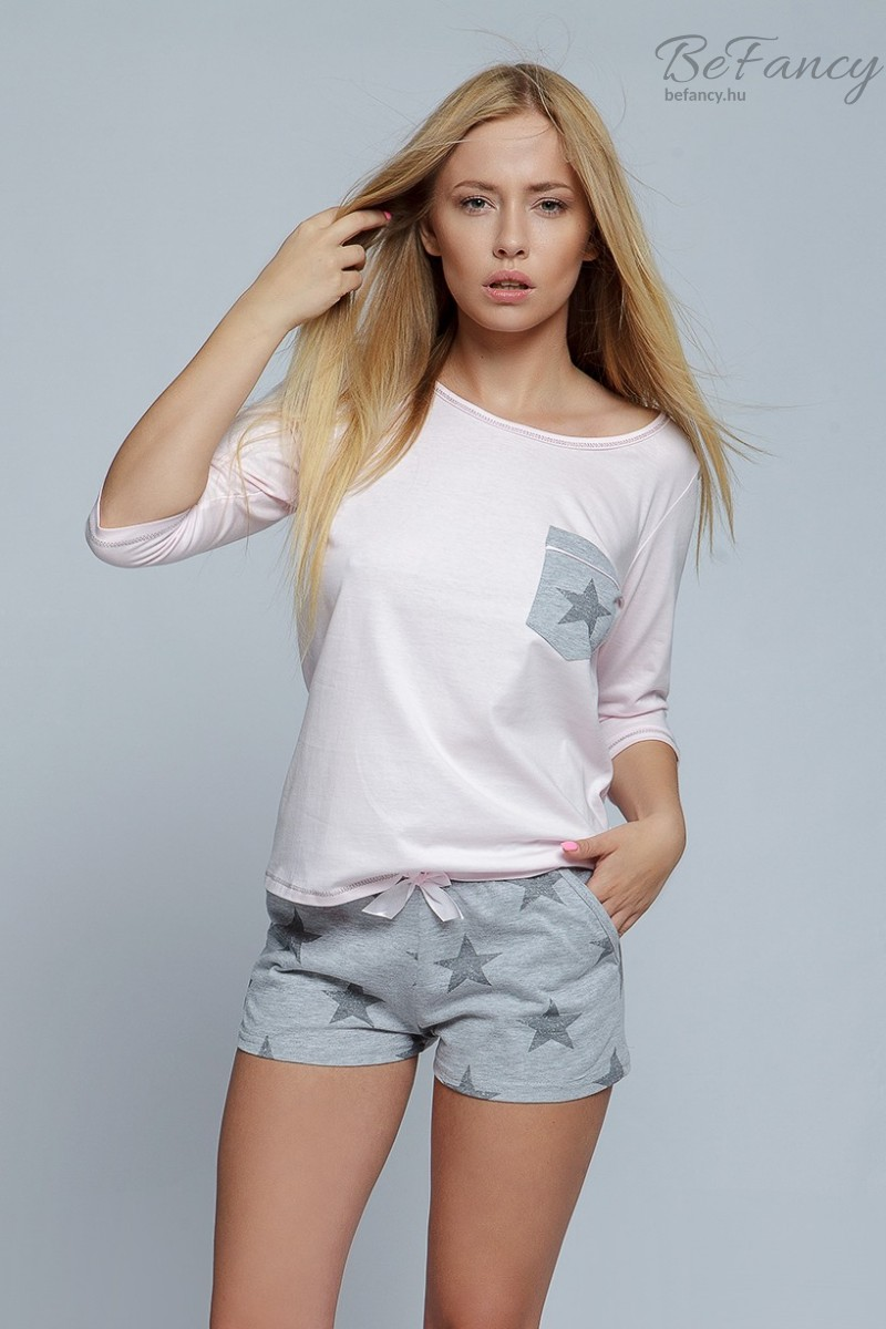 Csillagos ői pizsama Star rózsaszín/szürke
