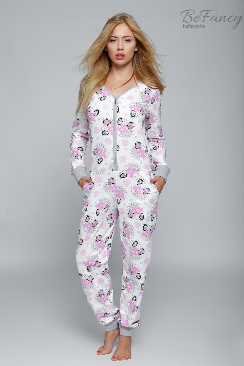 Pingvines pizsama overál női Happy Winter fehér rózsaszín  6d7f01223b