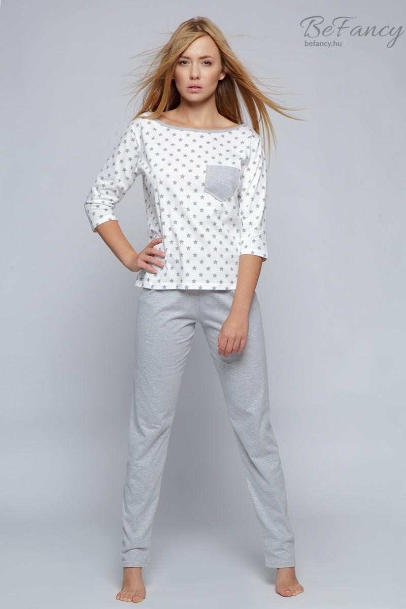 Csillagos női pizsama Little Star fehér szürke  72ee397fd0