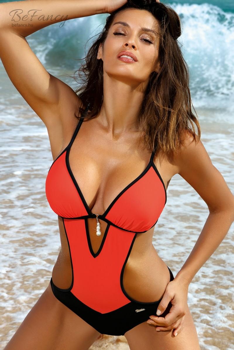 b51dd91bba Sportos trikini levehető gyöngyökkel - Crystal Vitamina M-492 narancs/fekete