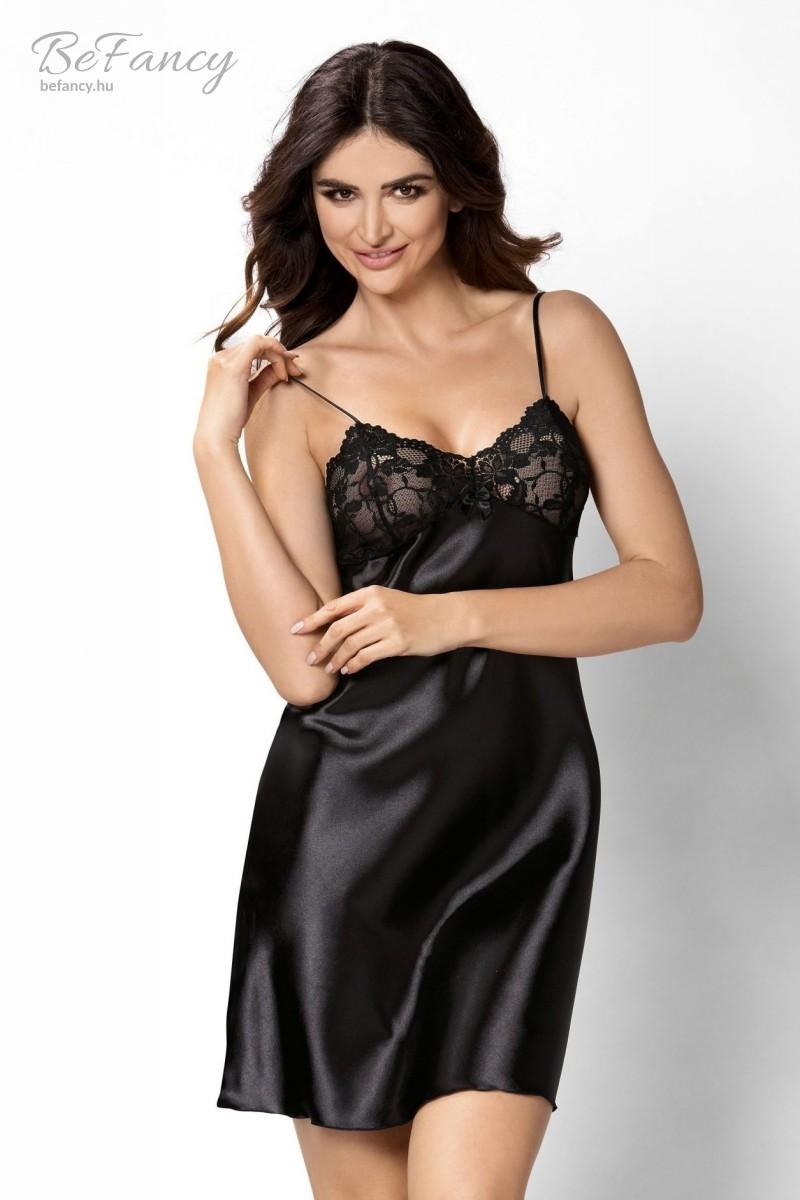 Csipkés szatén hálóing Model Aisha fekete