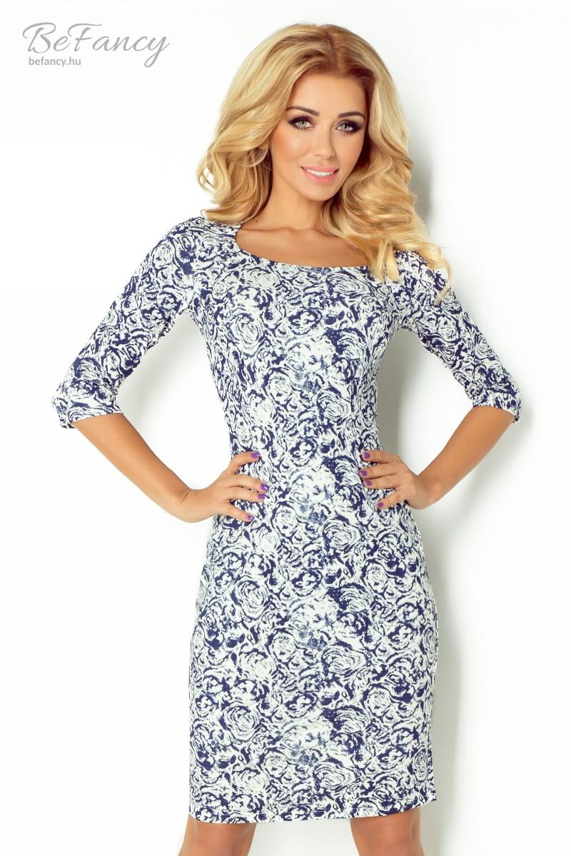 Rózsás ruha 121-1 kék fehér  99debff4d3