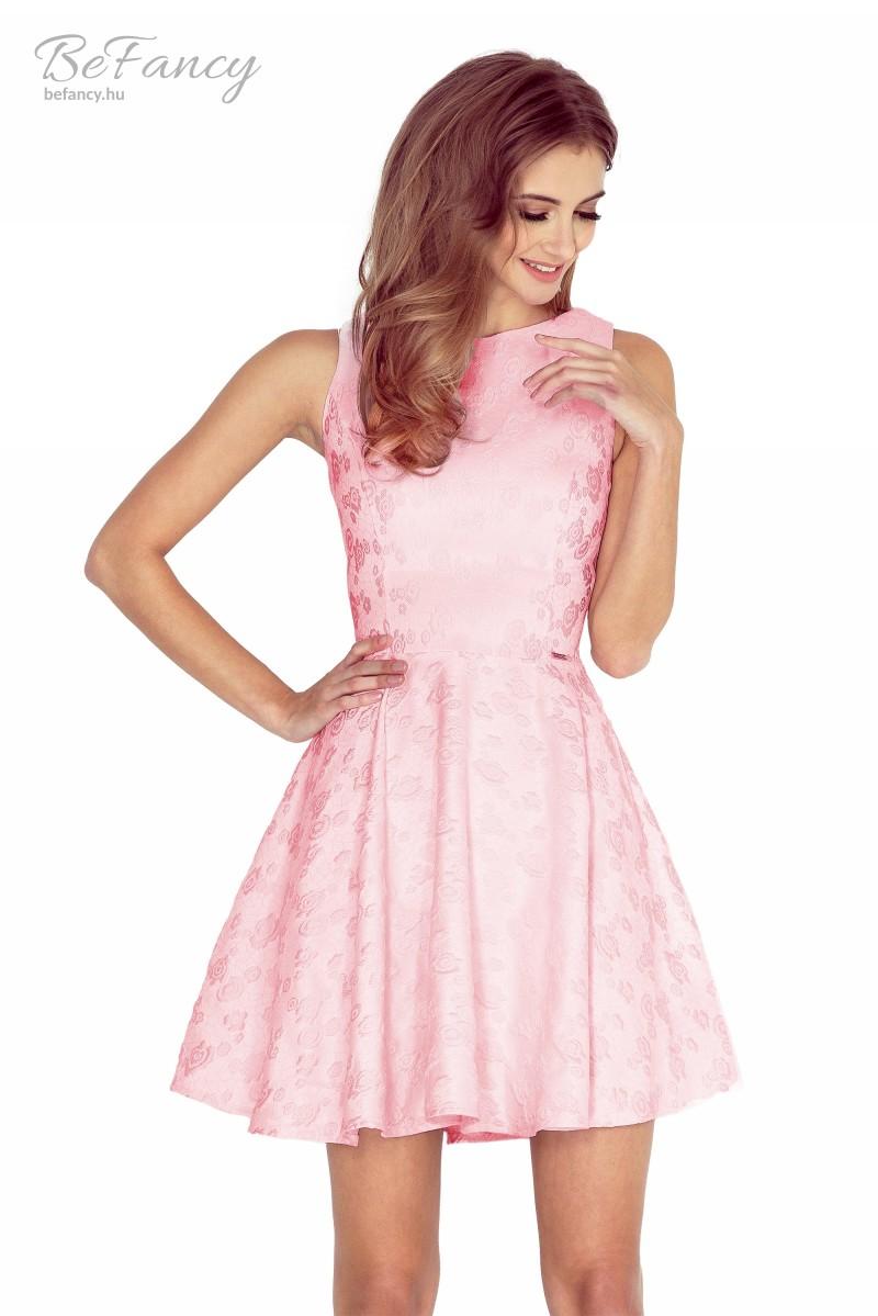 Ujjatlan koktélruha bő szoknyával 125-18 pasztell rózsaszín virágos ... 31228cec7a