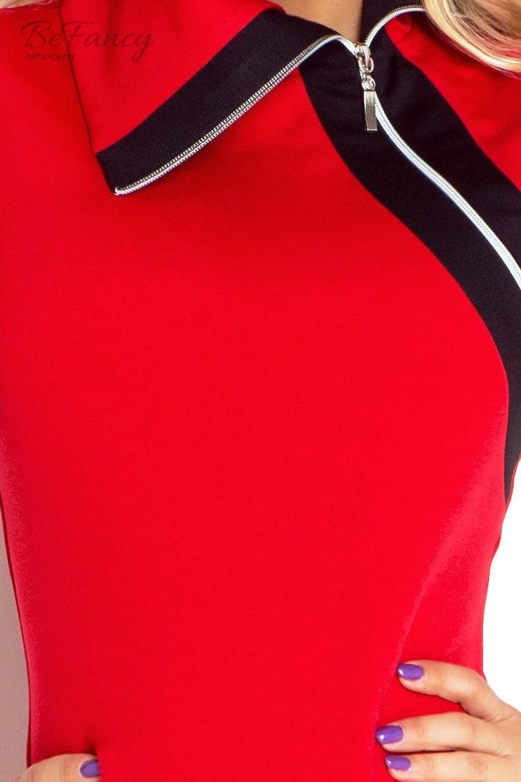 4155ed3989 Hosszú ujjú nappali ruha cipzárral Justyna 129-3 piros/fekete   Numoco    Befancy webáruház