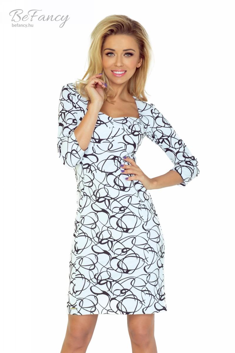 313b12a4a8 Háromnegyedes ujjú térdig érő nappali ruha különleges nyakkivágással  vastagabb anyagból 136-1 fekete/fehér mintás