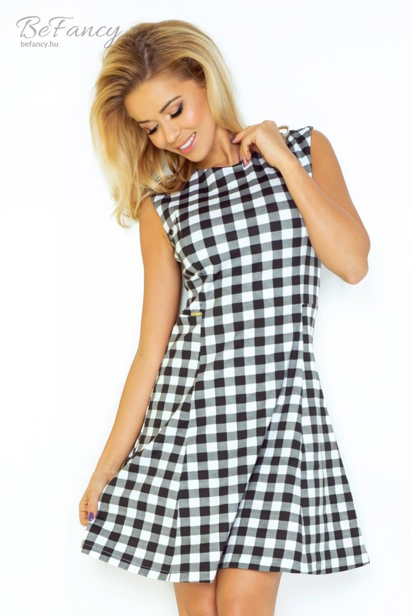 Ujjatlan nyári ruha bővülő szoknyával 137-4 fekete fehér kockás ... 24d6813854