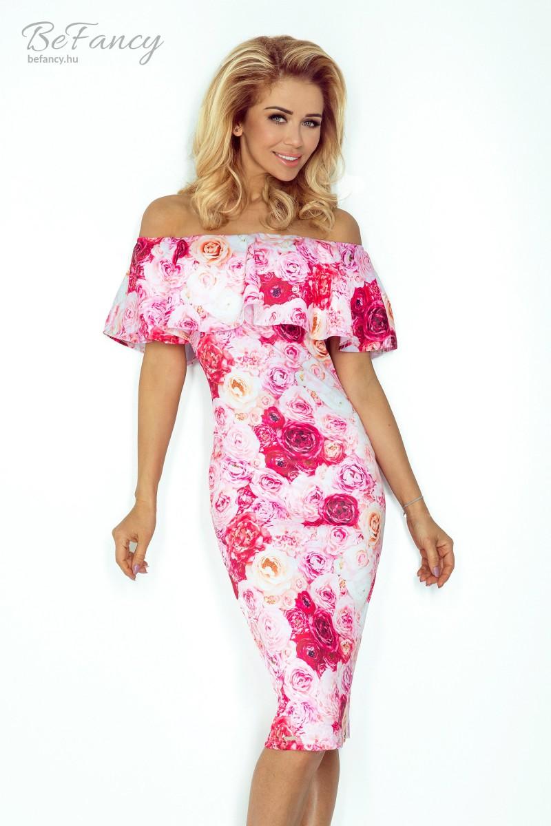 Szűk fazonú fodros carmen ruha 138-6 rózsaszín virágos  01101cadef