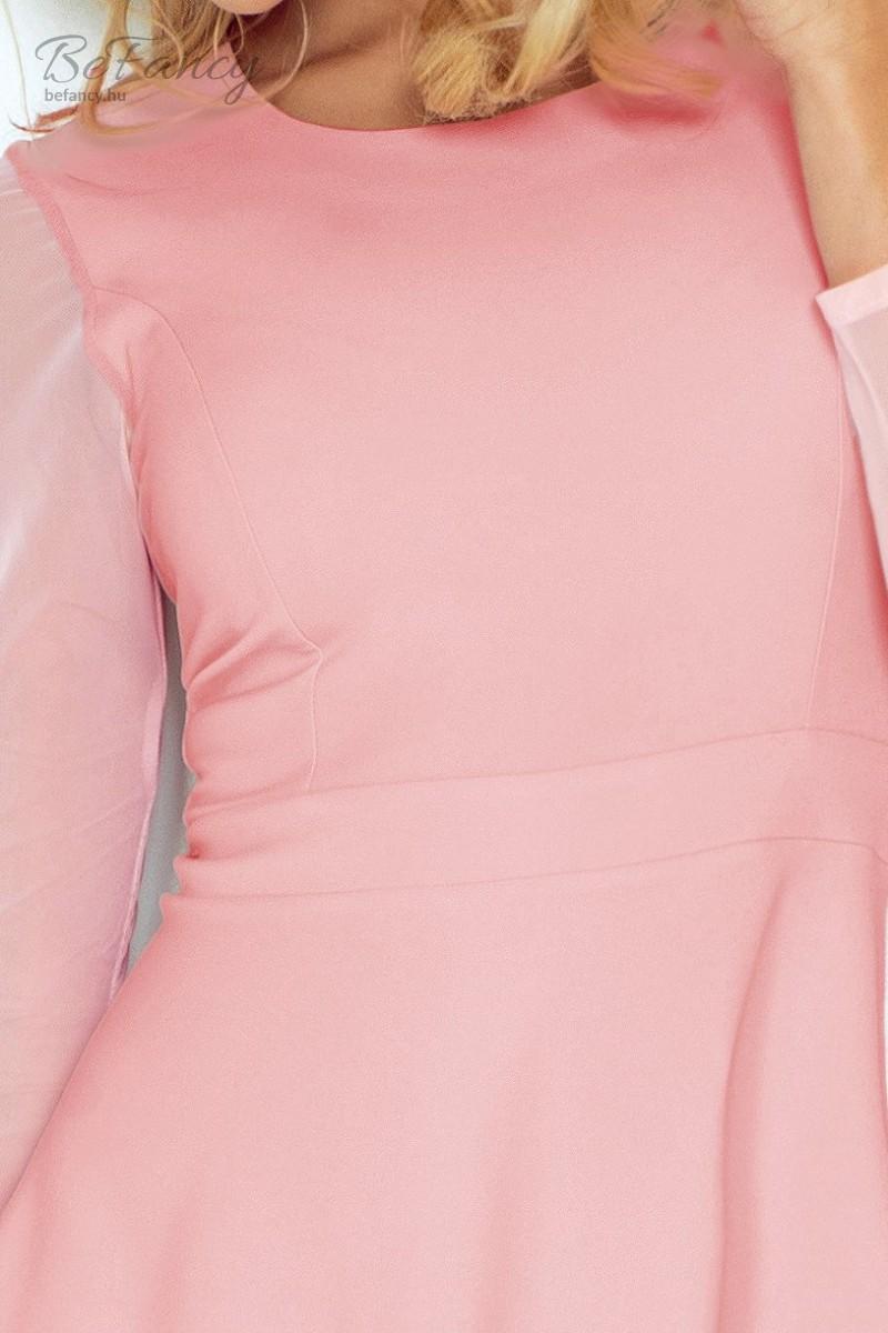e33dbe116b Háromnegyedes tüll ujjú koktélruha bő szoknyával 141-7 rózsaszín | Numoco |  Befancy webáruház