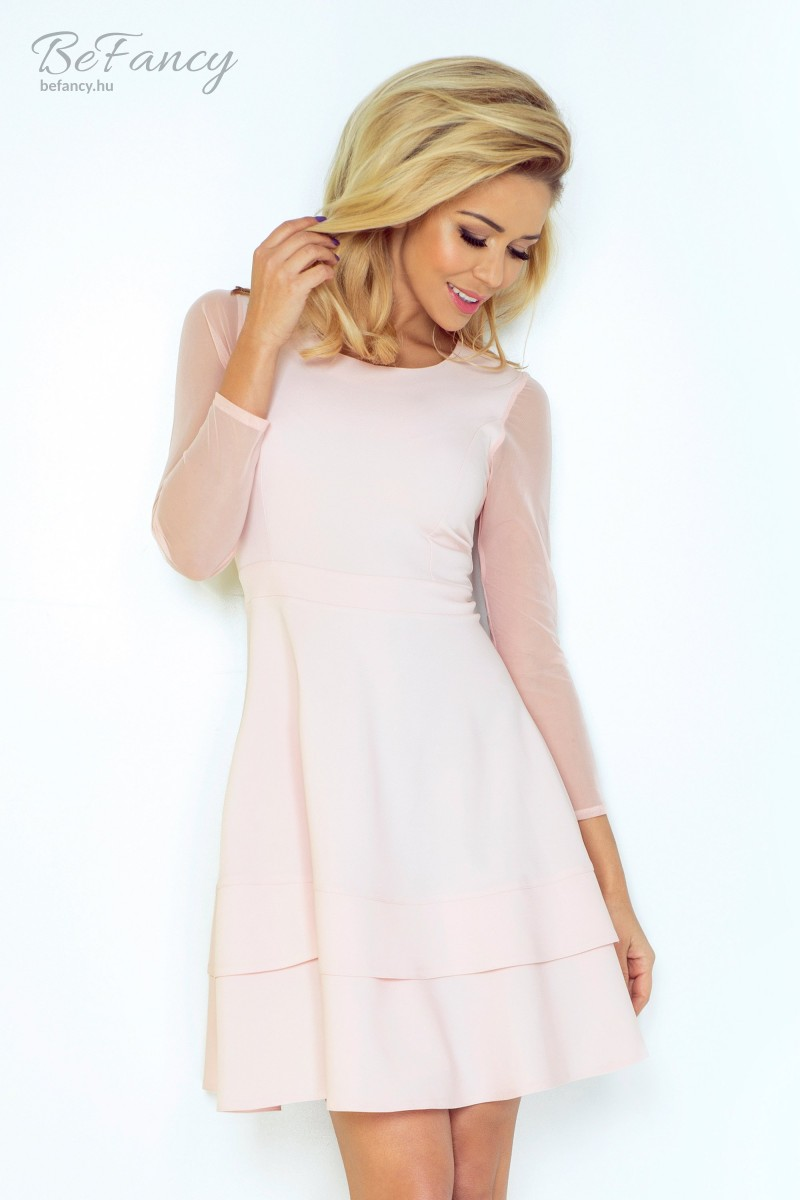 9045495a03 Háromnegyedes tüll ujjú koktélruha bő szoknyával 141-4 pasztell rózsaszín