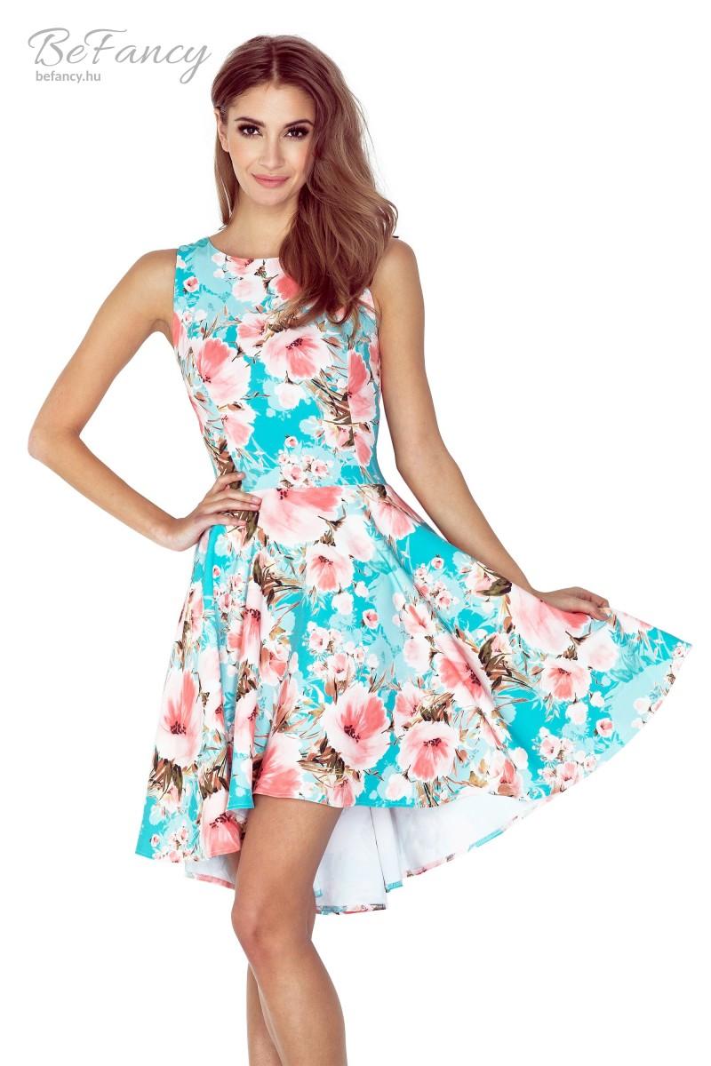Ujjatlan asszimetrikus koktélruha ruha 148-1 kék rózsaszín virágmintás 154a6d9275