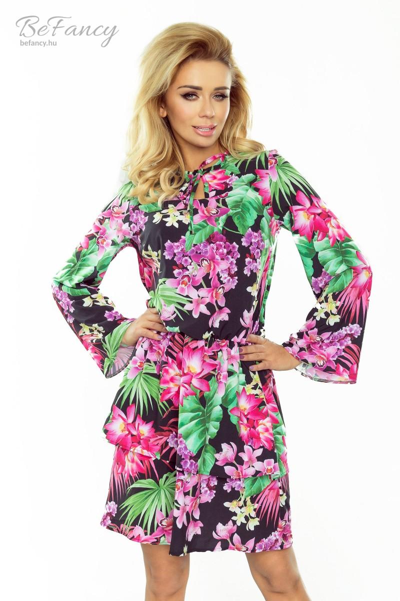 Hosszú bővülő ujjú nappali ruha fodros szoknyával Viola 179-2 fekete rózsaszín  virágos 573545117a