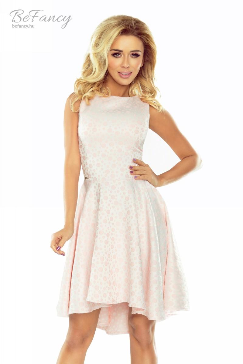 1251d13fa0 Ujjatlan pöttyös, aszimmetrikus ruha 175-1 pasztell rózsaszín ...