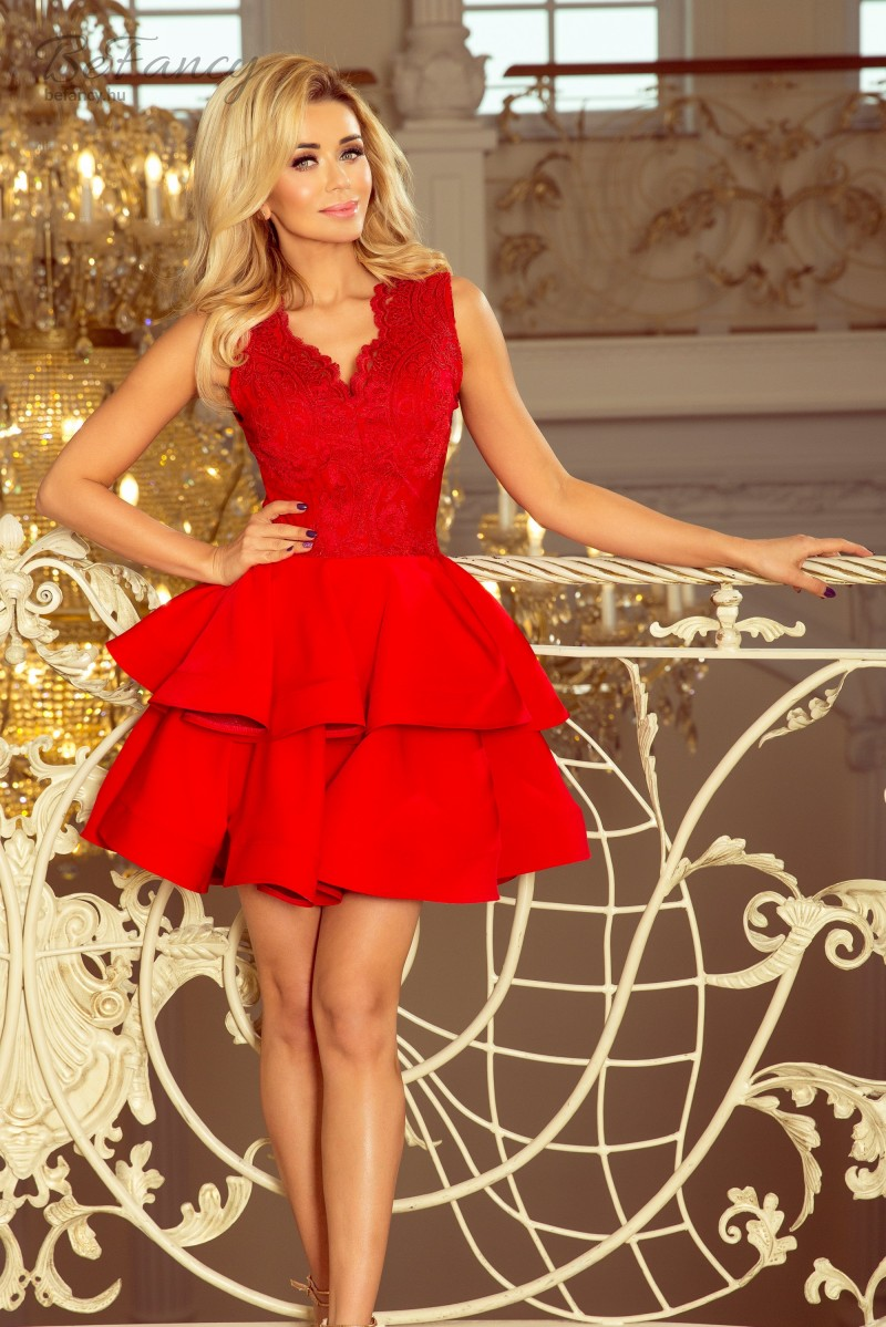 Felül hímzett ujjatlan koktélruha fodros miniszoknyával Charlotte 200-4  piros d1f1832286