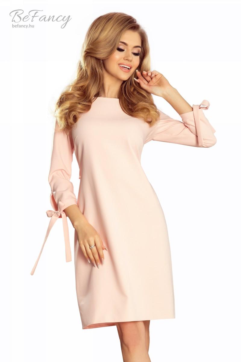 Elegáns ruha derekán és ujján masnival Alice 195-2 pasztell rózsaszín