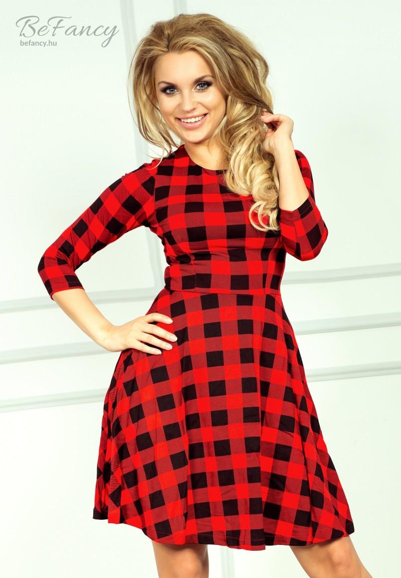 Háromnegyedes ujjú nappali ruha bő szoknyával 49-2 piros fekete kockás 90ceab615f
