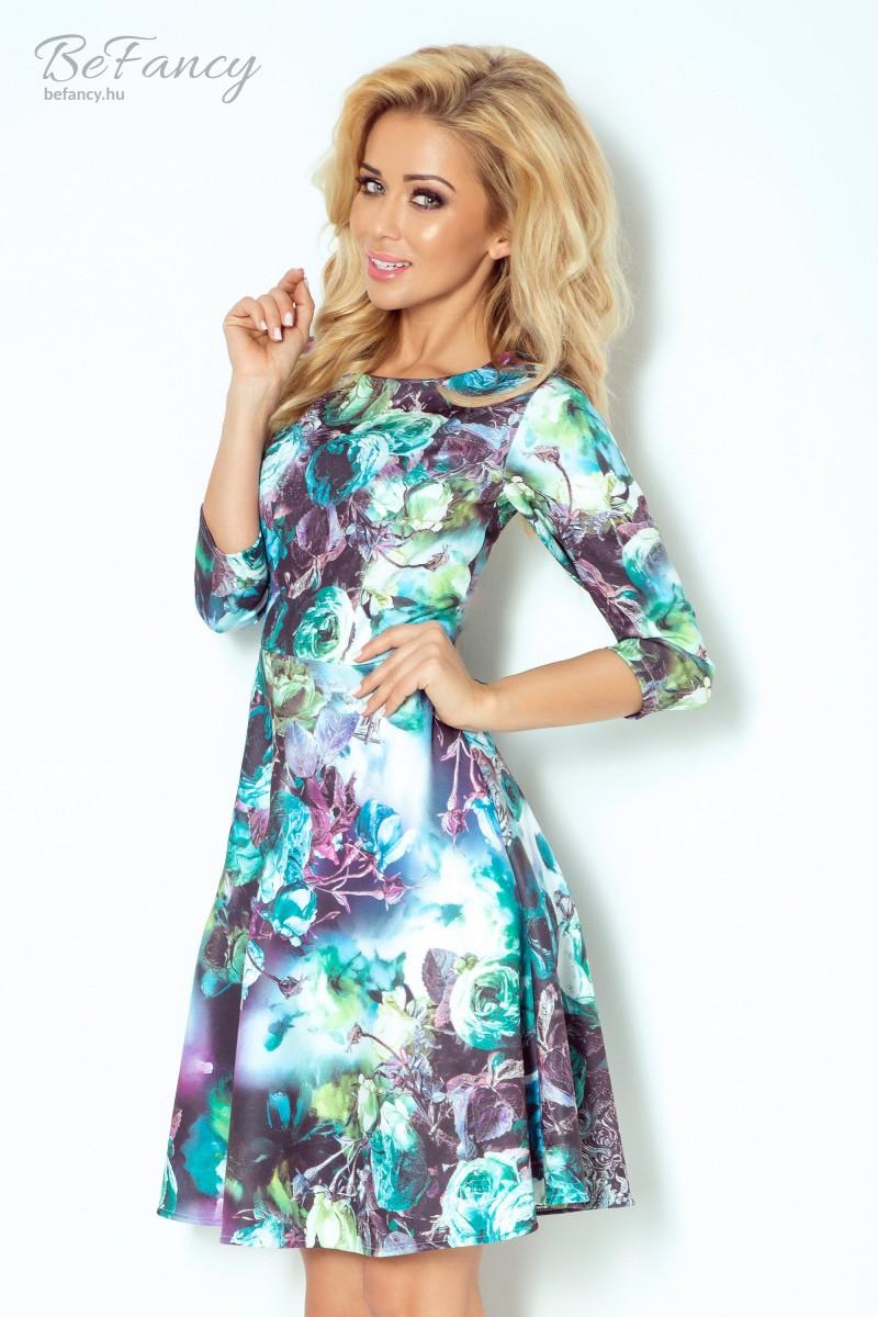 Háromnegyedes ujjú nappali ruha bő szoknyával 49-12 rózsaszín kék  virágmintás ca1b81816a