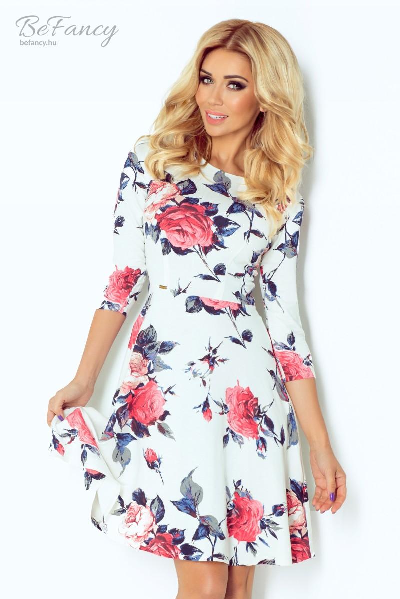 Háromnegyedes ujjú nappali ruha bő szoknyával 49-13 fehér rózsaszín  virágmintás a1d1ef1012