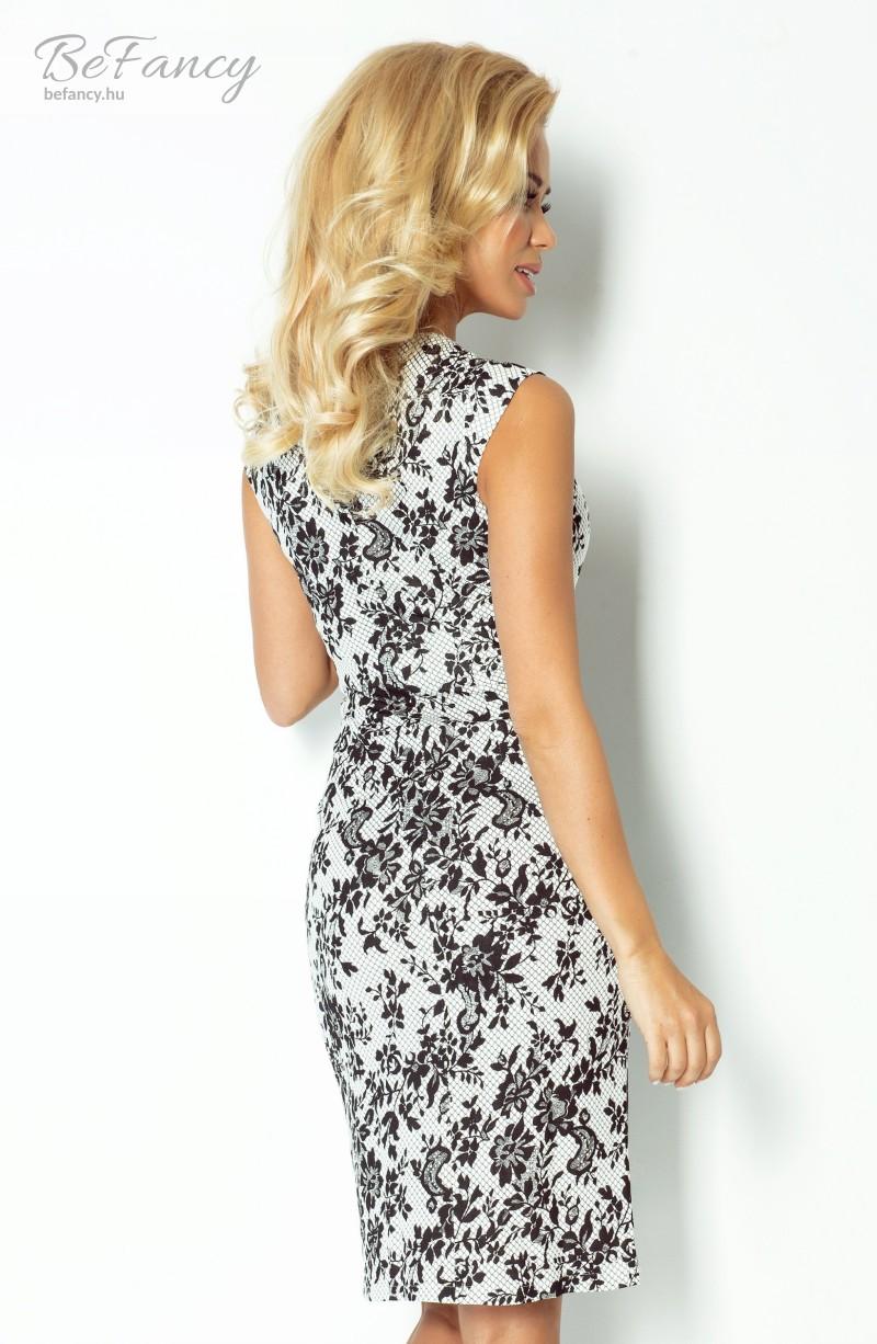 44d2809d95 Virágos ruha 53-19 fehér/fekete virágos | Numoco | Befancy webáruház