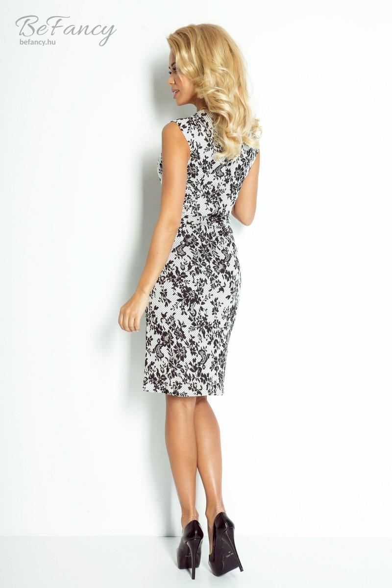 15e7cd2bd6 Virágos ruha 53-19 fehér/fekete virágos   Numoco   Befancy webáruház