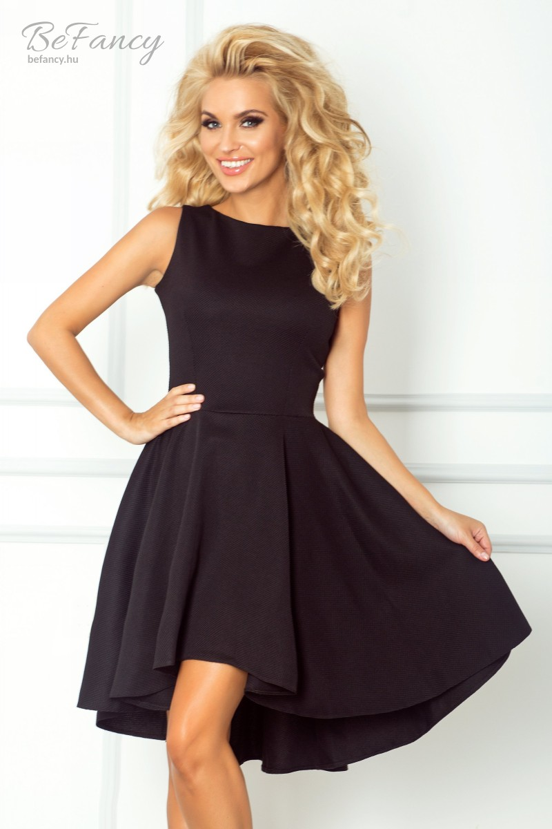 Ujjatlan asszimetrikus koktélruha bő szoknyával 66-2 fekete  5a66a949e1